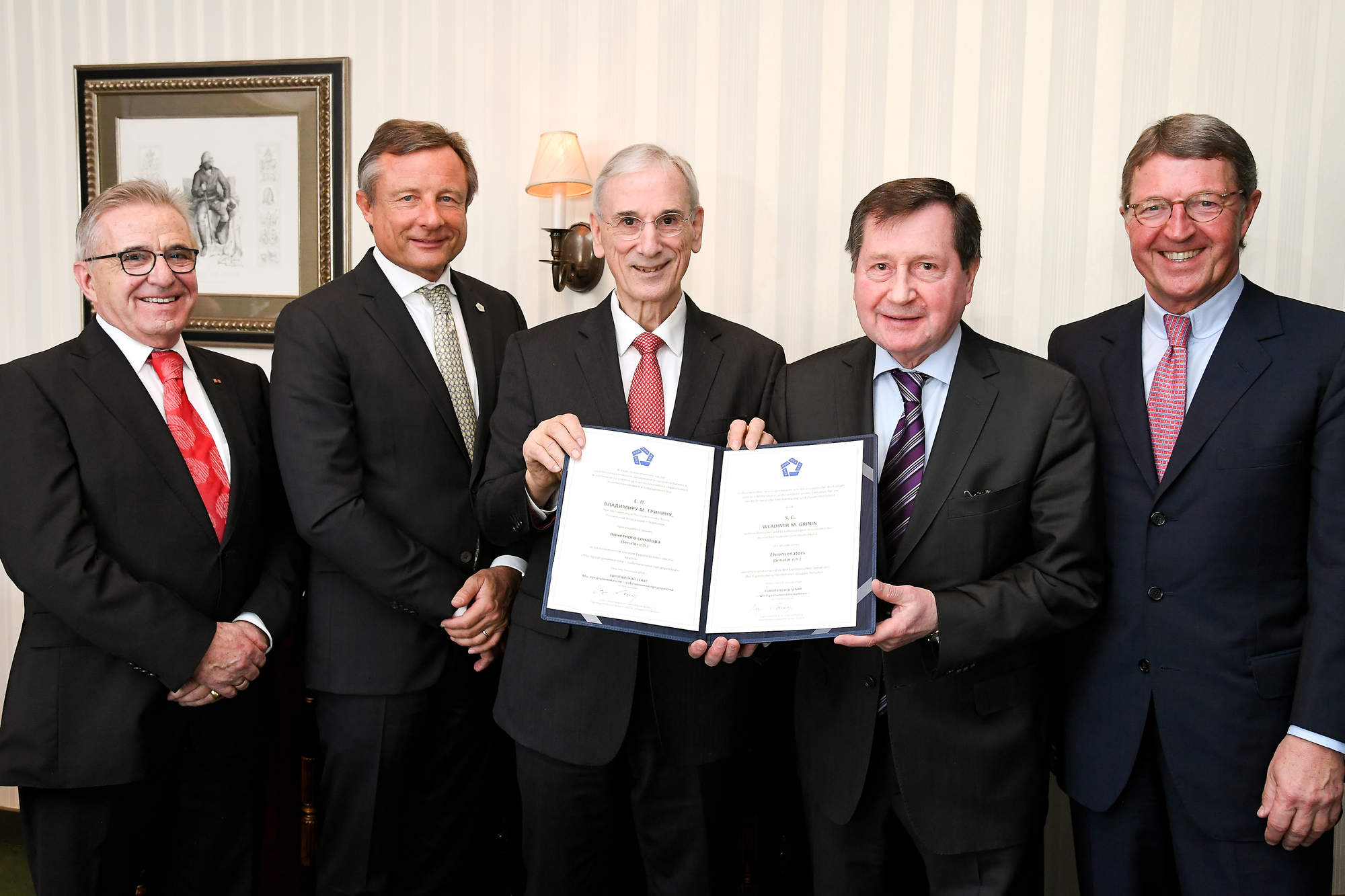 v.l. Werner Küsters, Präsident EWiF e.V. - Wir Eigentümerunternehmer, Dr. Yorck Otto, Jürgen Chrobog, Botschafter Grinin, Dr. Eckhard Cordes